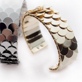 Image of Miss Vintage - Cuff bangle with fish scale detail