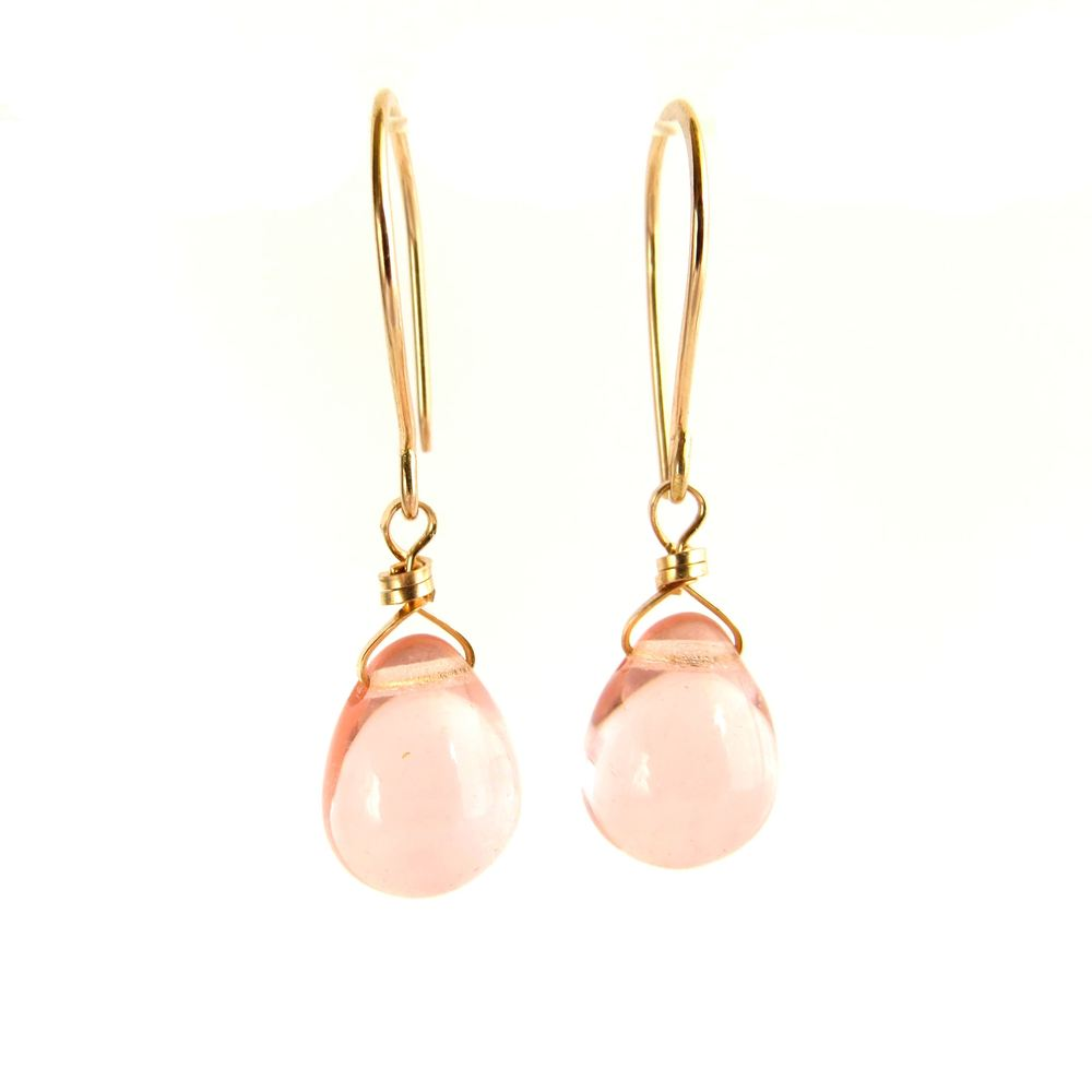 Image of Pink glass droplet earrings - Makou