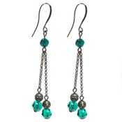 Image of Swarovski Crystal Emerald Earrings Gunmetal