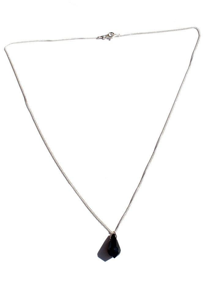 Image of Sterling Silver and Black Swarovski Crystal Necklace
