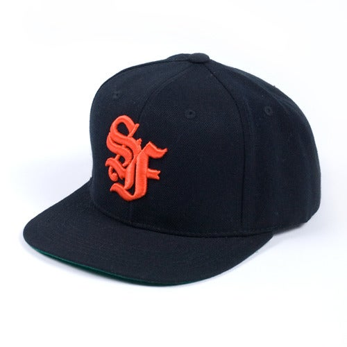 Image of San Francisco OE Snapback Cap (Black/Orange)