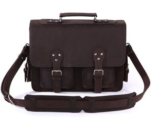 Image of Vintage Handmade Crazy Horse Leather Briefcase / Satchel / Travel Bag / Messenger Bag (n92)