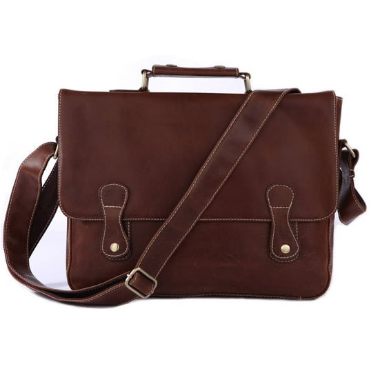 "Image of Vintage Handmade Leather Briefcase / Messenger Bag / 13"" Laptop 13"" MacBook Pro/Air Bag (n57)"