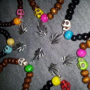 Image of Legal Highs Weed Leaf/ skull bracelets