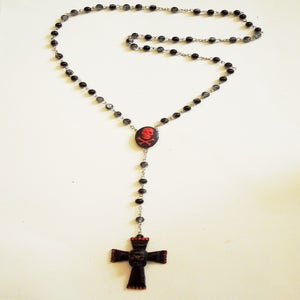 Image of Black & Red Skull Cross Rosary
