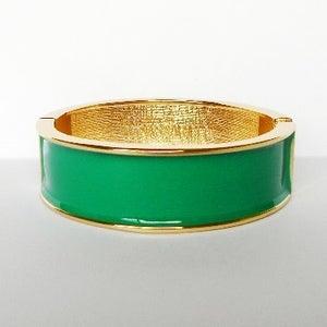 Image of Wide Enamel Bangle Emerald