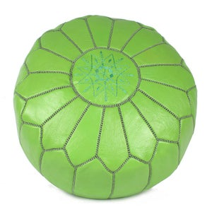 Image of Moroccan Leather Pouffe (Lime Green)
