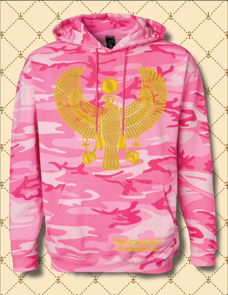 Image of Womens Gold Foil Heru Custom Camo Hoodie