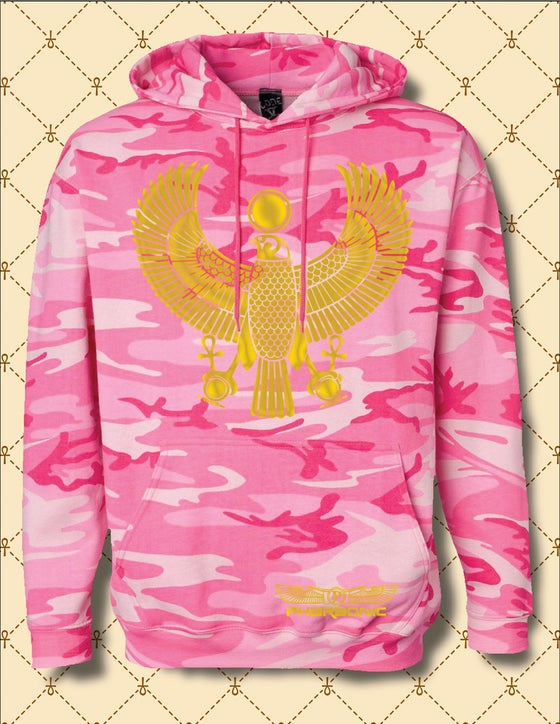 Image of Womens Gold Foil Heru Custom Camo Hoodie