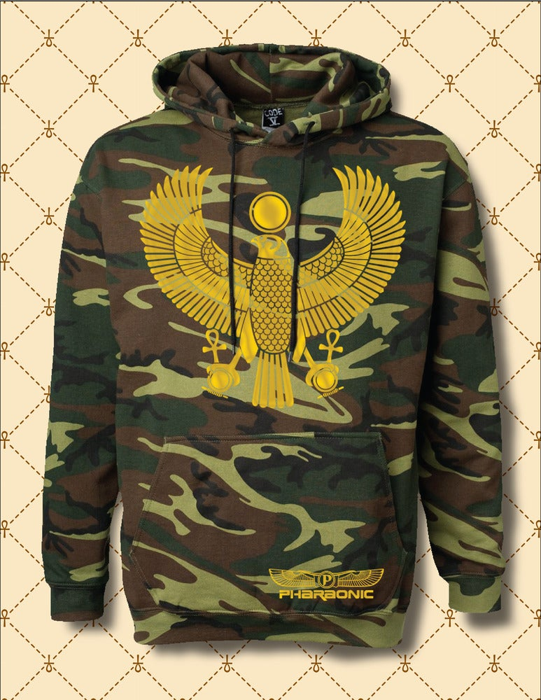 Image of Mens & Women Gold Foil Heru Custom Woodland Camo Hoodie