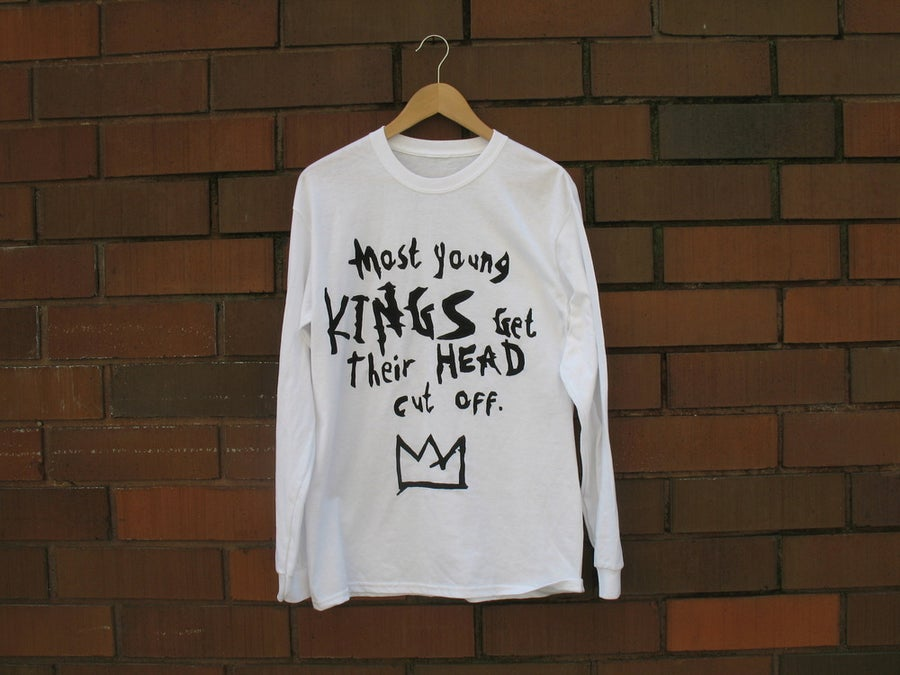 "Image of ""Most Young Kings Get Their Head Cut Off"" Long Sleeve T-Shirt (White/Black)"