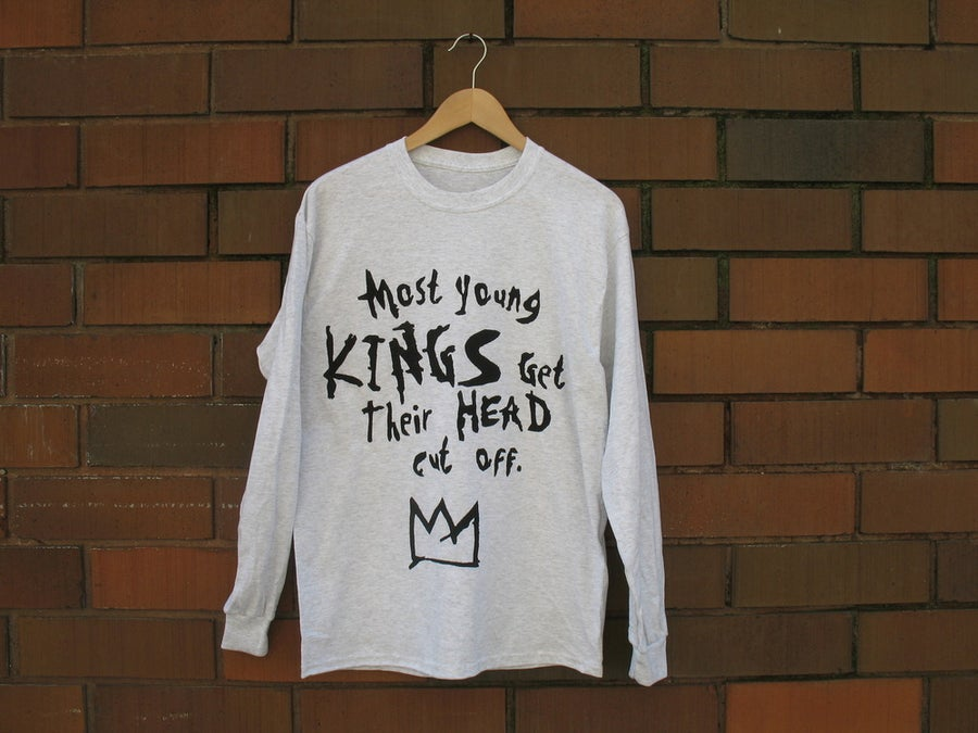 "Image of ""Most Young Kings Get Their Head Cut Off"" Long Sleeve T-Shirt (Ash Grey/Black)"