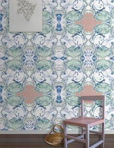 Image of Wallpaper Pattern: Valetta <br> Color Way: Brilliant Sea