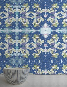 Image of Wallpaper Pattern: Hellena <br> Color Way: Azure