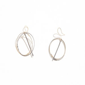 Image of Gold Circle & Line Earrings Mixed Metals