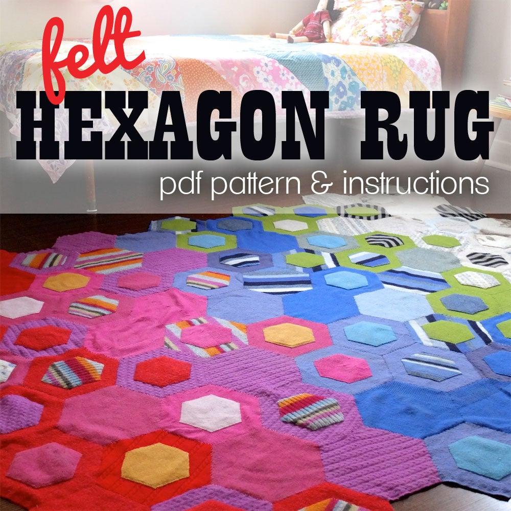 Image of Felt Hexagon Rug PDF Pattern & Instructions