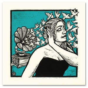 Image of Grammophone Girl Giant Woodcut & Serigraph