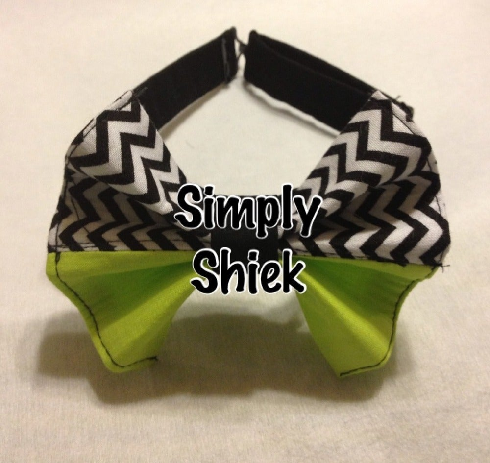 Image of Black, White an Lime Green Bow Tie