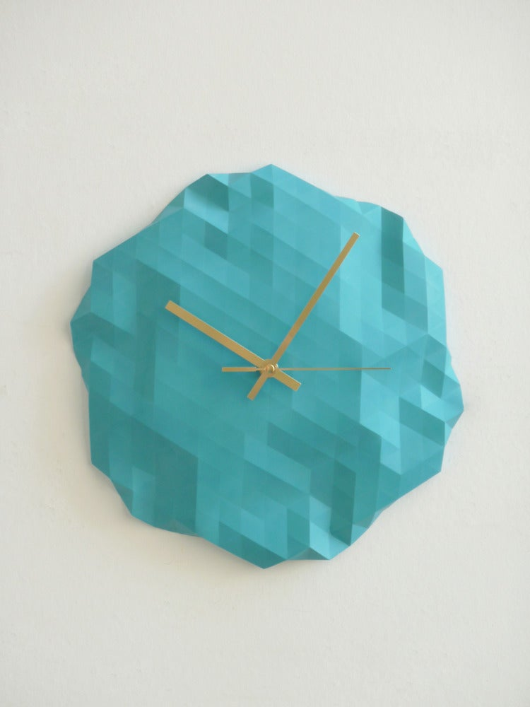 Image of Faceted Wall Clock - Turquoise