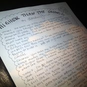 "Image of Handwritten ""Higher Than the Clouds"" lyrics"