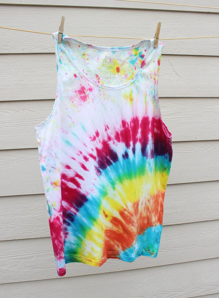 Image of Radical Bomb Rainbow Tie Dye Mens Tank Top