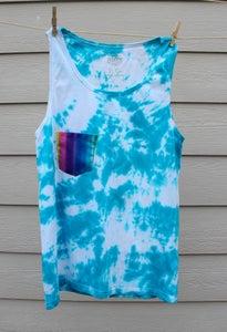 Image of Blue Tie Dye Mens Tank Top + Pocket