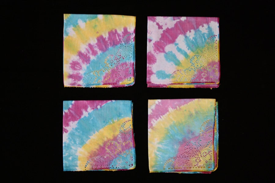 "Image of Napkins, Seafoam ""Electric Rainbow"" Set of 4"