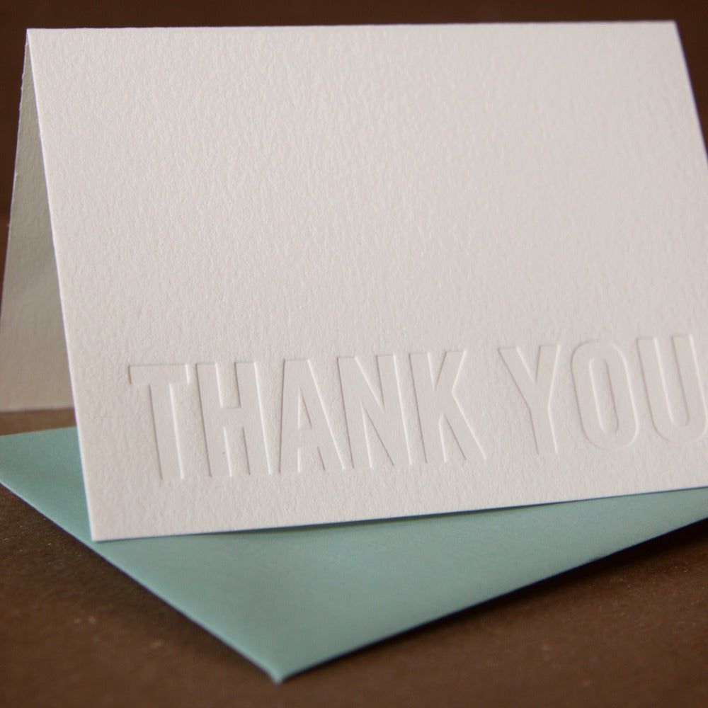 Image of 25 Impression Modern Block Letterpress Thank You Notes