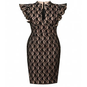 Image of Hybrid Fiona Nude and Black Lace Frill Dress