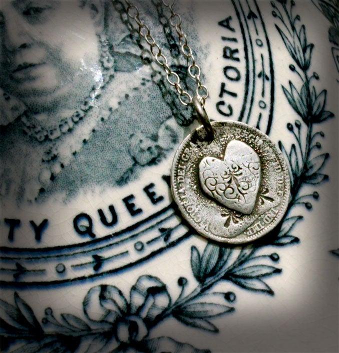 Image of Heart Love Token - Victorian threepence