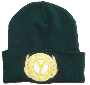 Image of Bottle Green Embroidered Crest Beanie