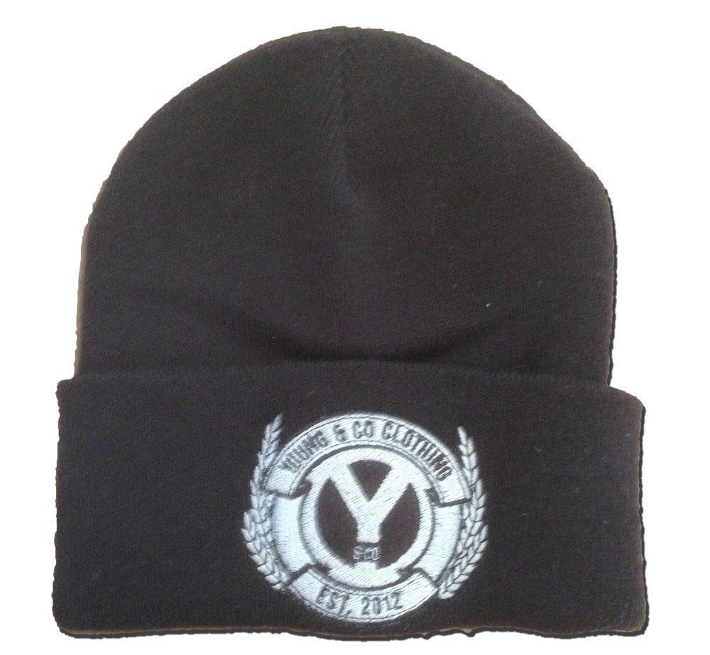 Image of Black Embroidered Crest Beanie