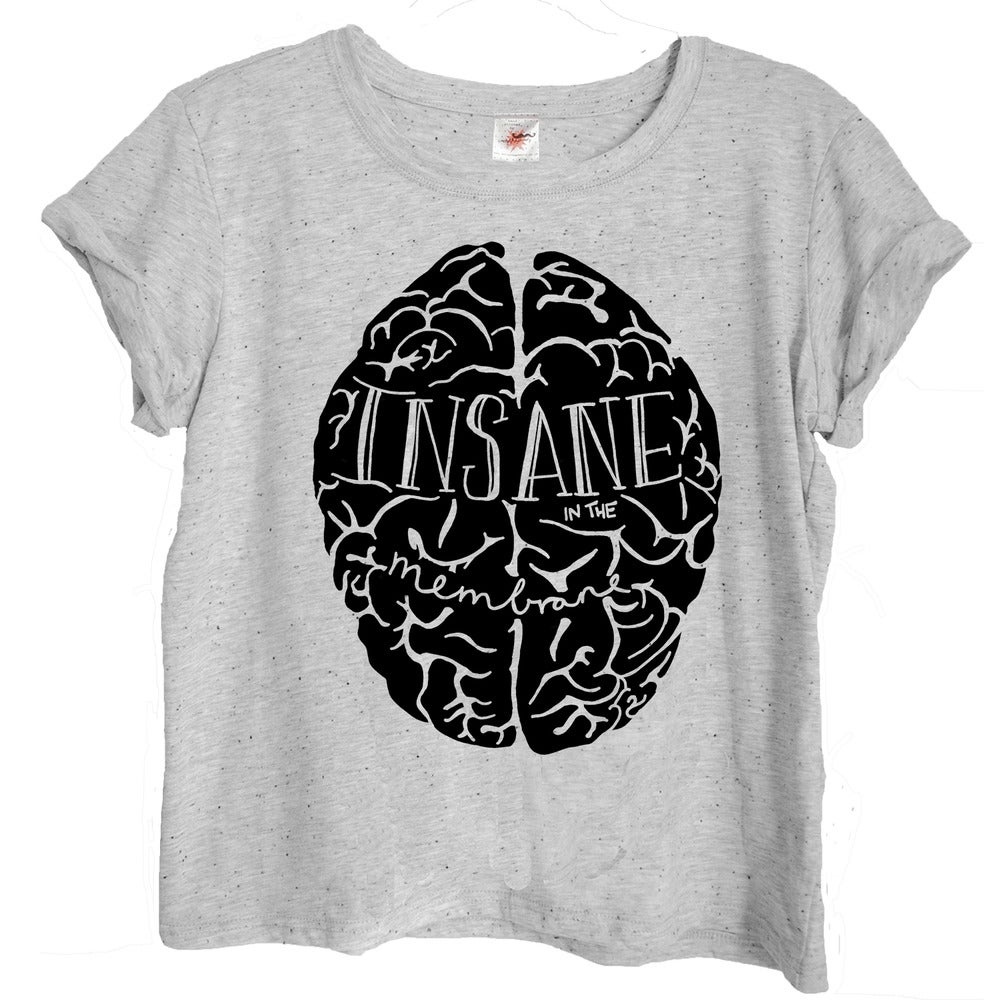 Image of Hand Printed INSANE IN THE MEMBRANE WOMEN'S T-SHIRT BY EMILY BOYD