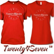 "Image of Red/White ""Twenty4Seven Logo"" Tee (Men & Women's)"