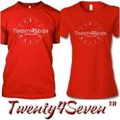 """Image of Red/White """"Twenty4Seven Logo"""" Tee (Men & Women's)"""