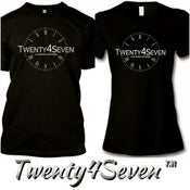 """Image of Black/White """"Twenty4Seven Logo"""" Tee (Men & Women's)"""
