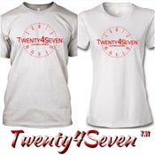 """Image of White/Red """"Twenty4Seven Logo"""" Tee (Men's/Women's)"""