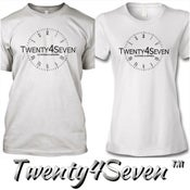 """Image of White/Black """"Twenty4Seven Logo"""" Tee (Men & Women's)"""