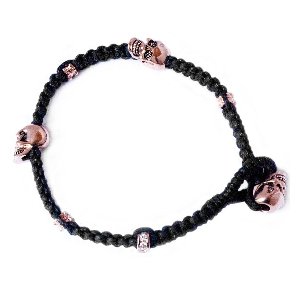 Image of NEW Bitten Lip Black (with rose gold skulls) 'Don't lose your head' bracelet