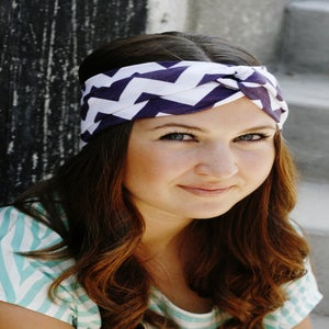 Image of Turban Headband in Plum Chevron