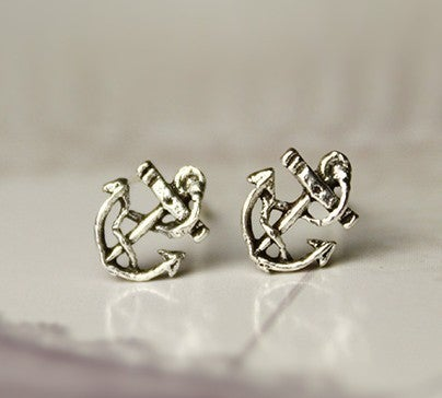 Image of [grxjy530097]Silver retro anchor earrings