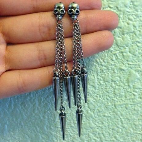 Image of Skulls & Spikes Chain Earrings