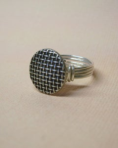 "Image of ""Metal Weave"" vintage button ring"