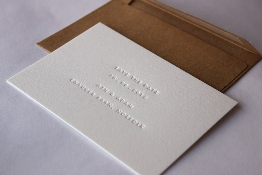 Image of Blind debossed (inkless) Save the Date Cards (89x124mm size)
