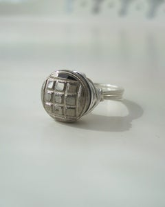 "Image of ""Silver Squares"" antique glass button ring"