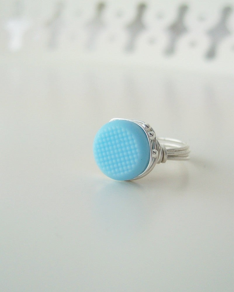 "Image of ""My Piece of Sky"" vintage button ring"