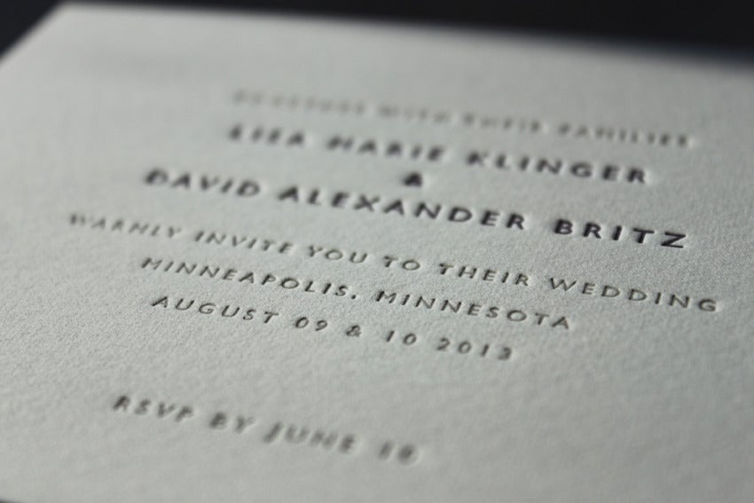 Image of Letterpress Wedding Invitations / Classic Design (available in 2 sizes)