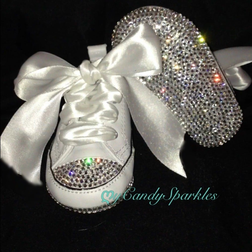 Image of White Converse crystal toe and bottoms Infant shoe