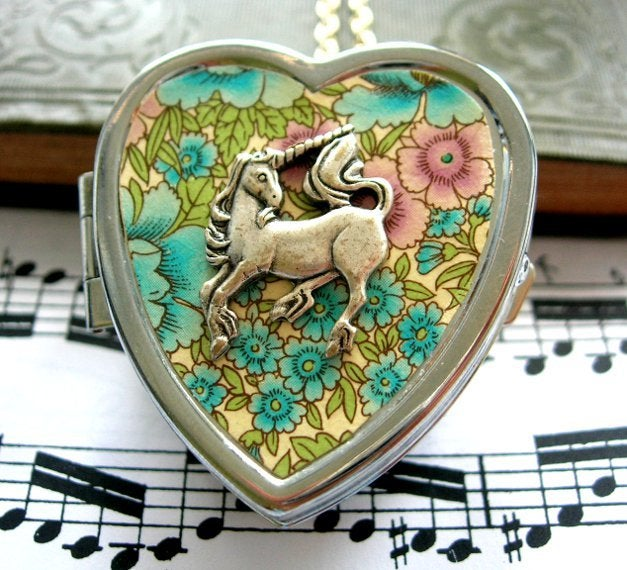 Image of Little Unicorn Music Box Locket - floral blue