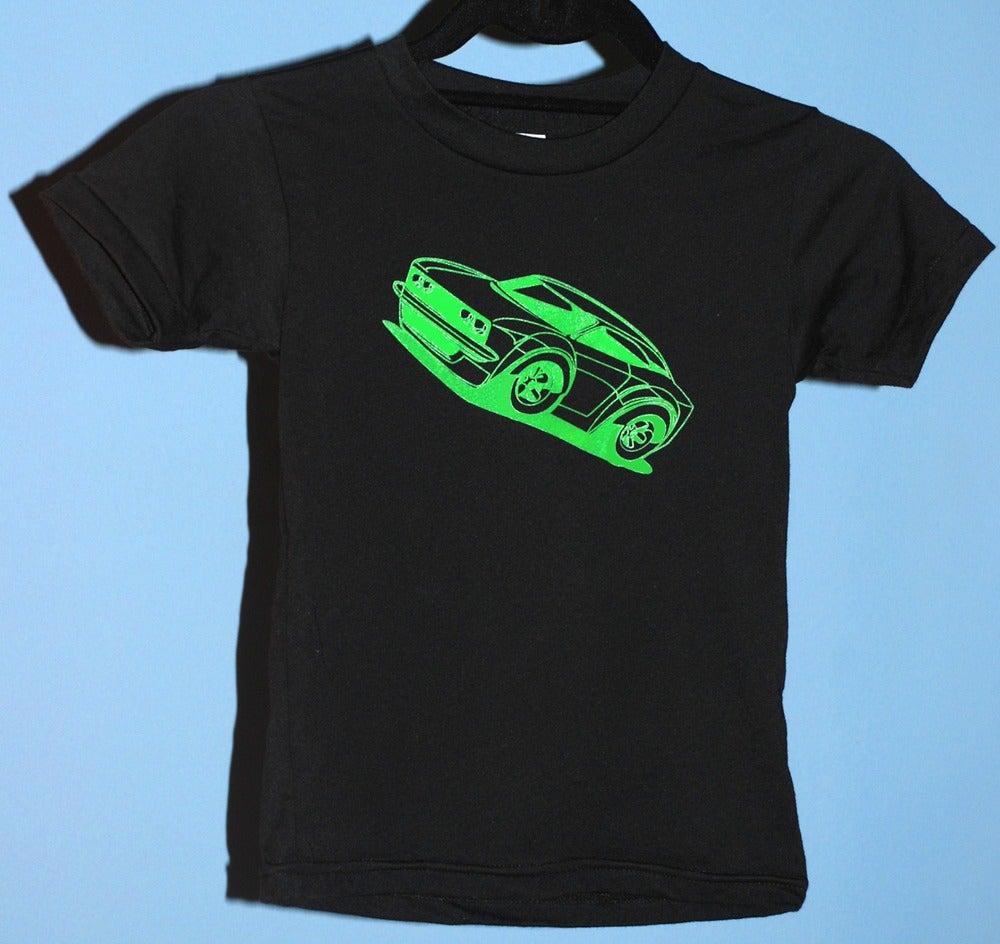 Image of Logo Car on black tee